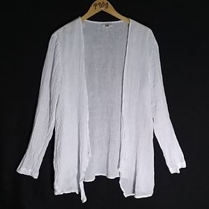 J Jill white linen cardigan sheer Large open front